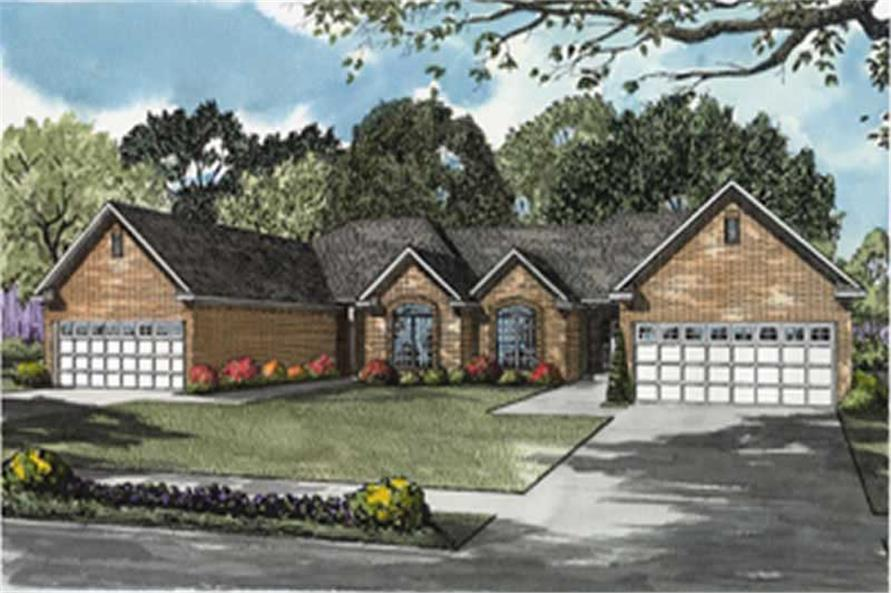 2-Bedroom, 1398 Sq Ft Multi-Unit Home Plan - 153-1538 - Main Exterior