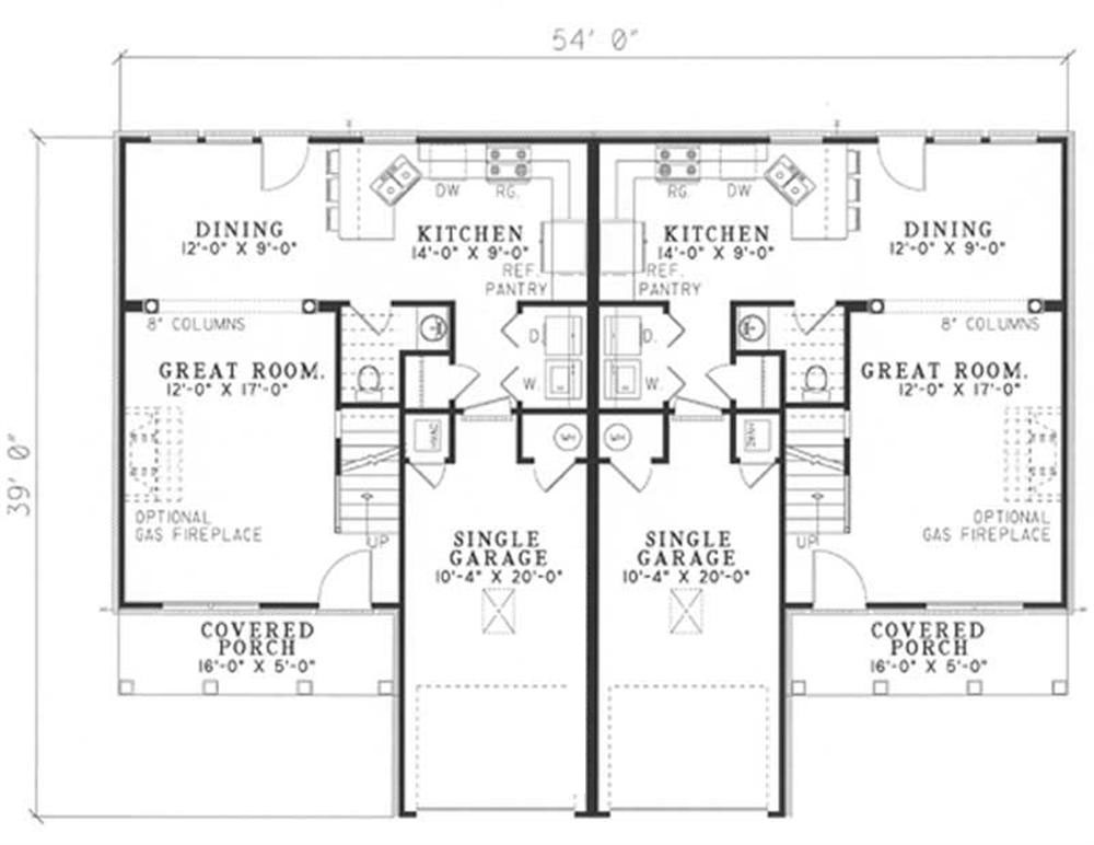 Traditional multi unit house plans home design for Multi unit floor plans
