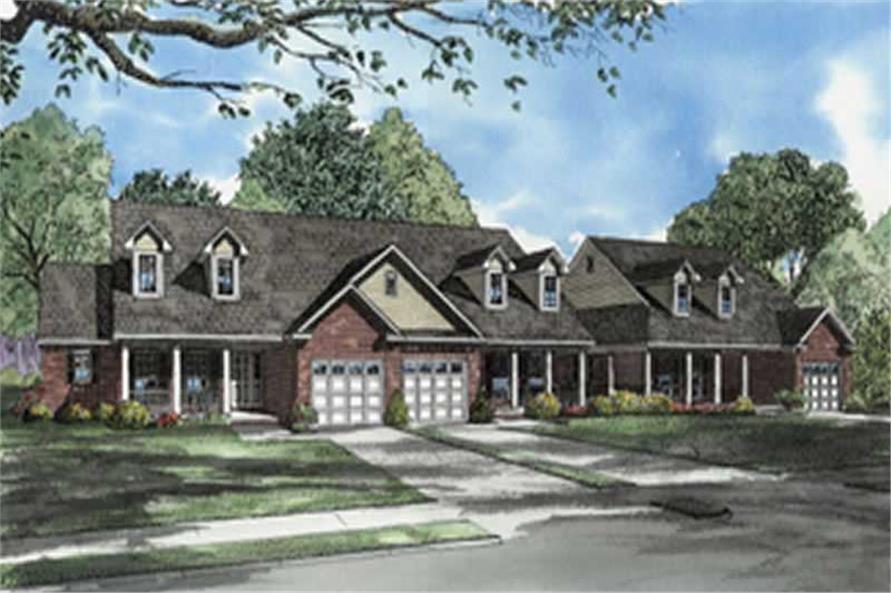 2-Bedroom, 1398 Sq Ft Multi-Unit Home Plan - 153-1541 - Main Exterior