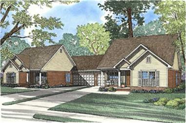 6-Bedroom, 1318 Sq Ft Multi-Unit Home Plan - 153-1542 - Main Exterior