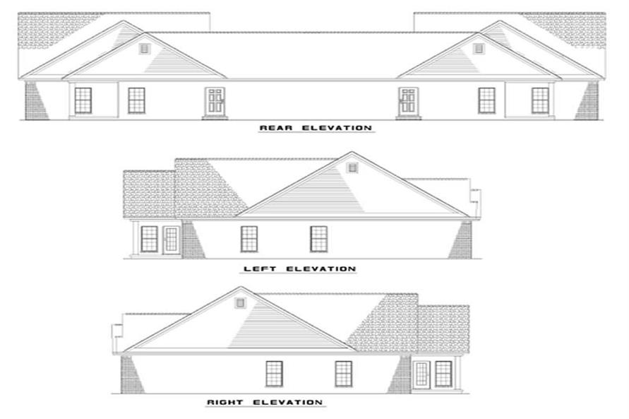 Home Plan Rear Elevation of this 6-Bedroom,1318 Sq Ft Plan -153-1542