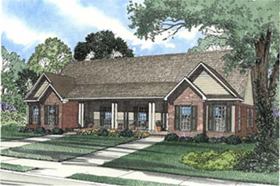Front elevation of Multi-Unit home (ThePlanCollection: House Plan #153-1544)