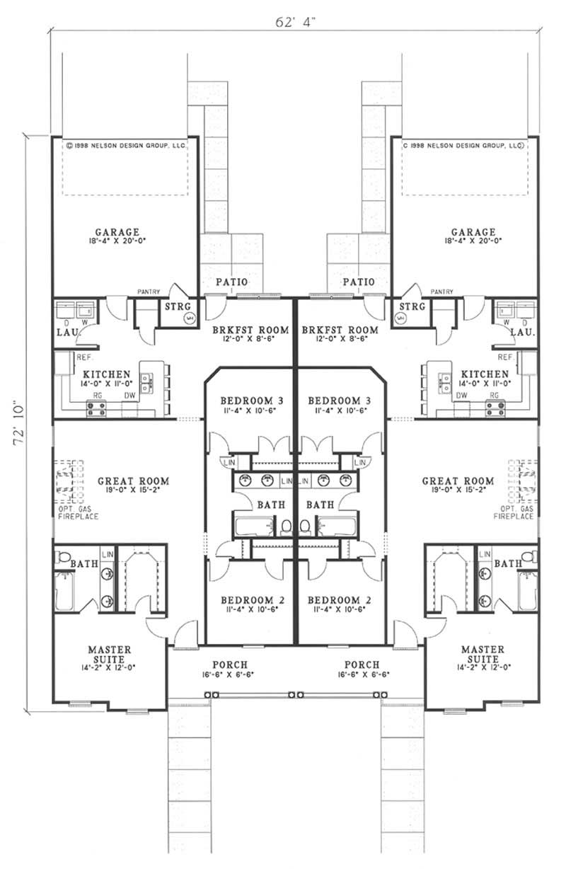 Multi unit house plan 153 1544 3 bedrm 1513 sq ft per for Multi unit floor plans