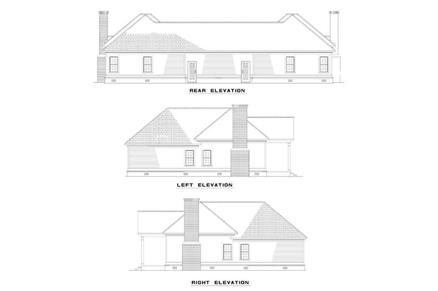 Home Plan Rear Elevation of this 4-Bedroom,1172 Sq Ft Plan -153-1549