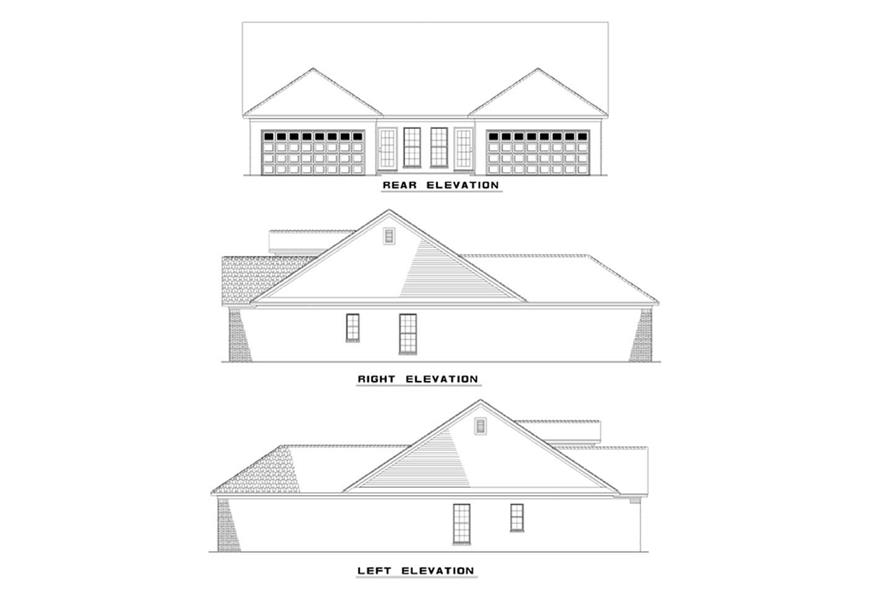 Home Plan Rear Elevation of this 4-Bedroom,1970 Sq Ft Plan -153-1550