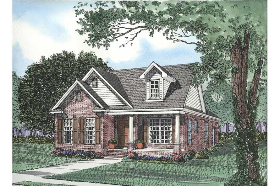 Front elevation of Bungalow home (ThePlanCollection: House Plan #153-1555)