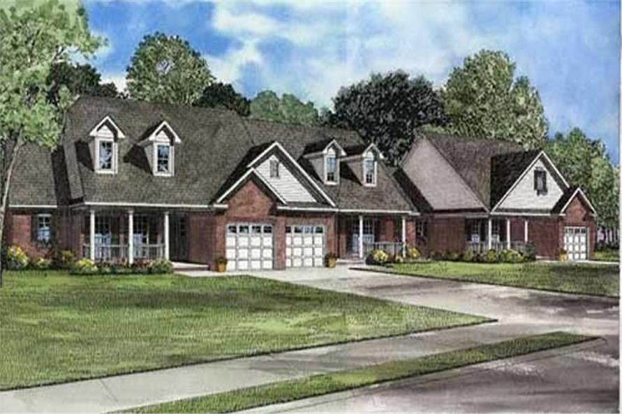 2-Bedroom, 1180 Sq Ft Multi-Unit Home Plan - 153-1557 - Main Exterior