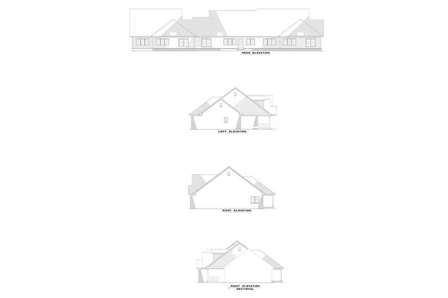 Home Plan Rear Elevation of this 2-Bedroom,1180 Sq Ft Plan -153-1557