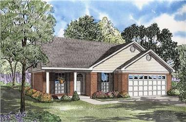 3-Bedroom, 1082 Sq Ft Ranch Home Plan - 153-1564 - Main Exterior