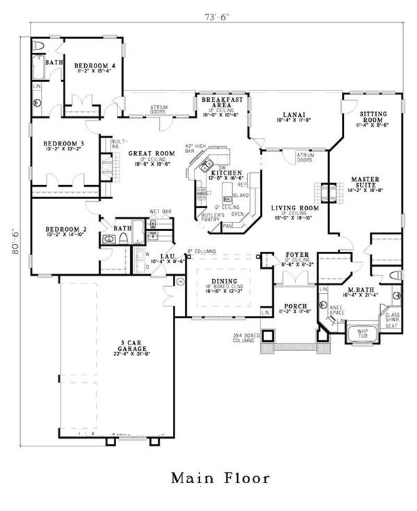 153-1573 house plan main level