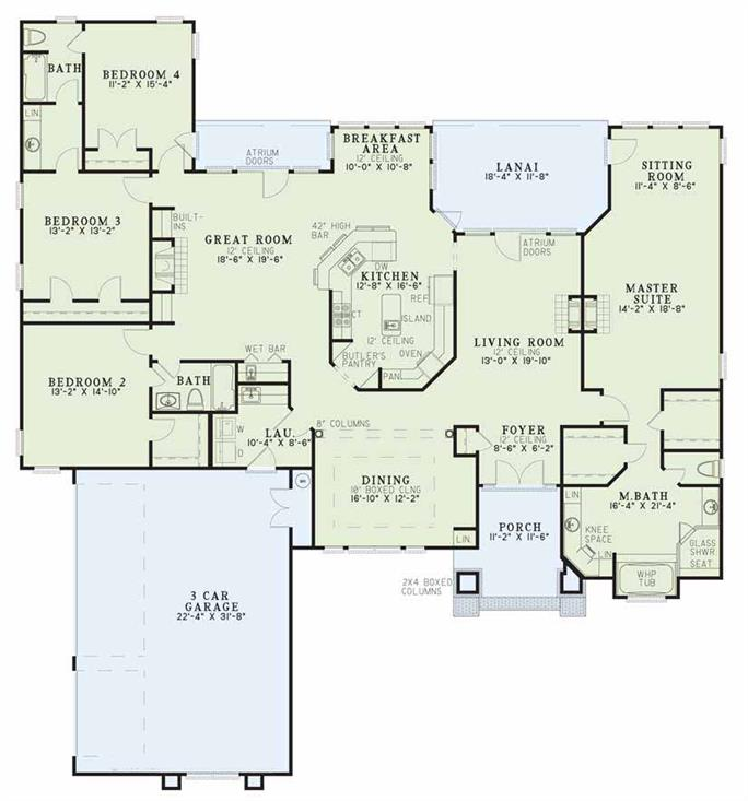 4 Bedroom Ranch House Plan 153 1573 Theplancollection