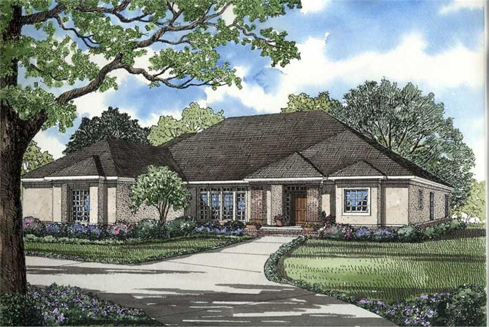 Front elevation of Contemporary home (ThePlanCollection: House Plan #153-1573)