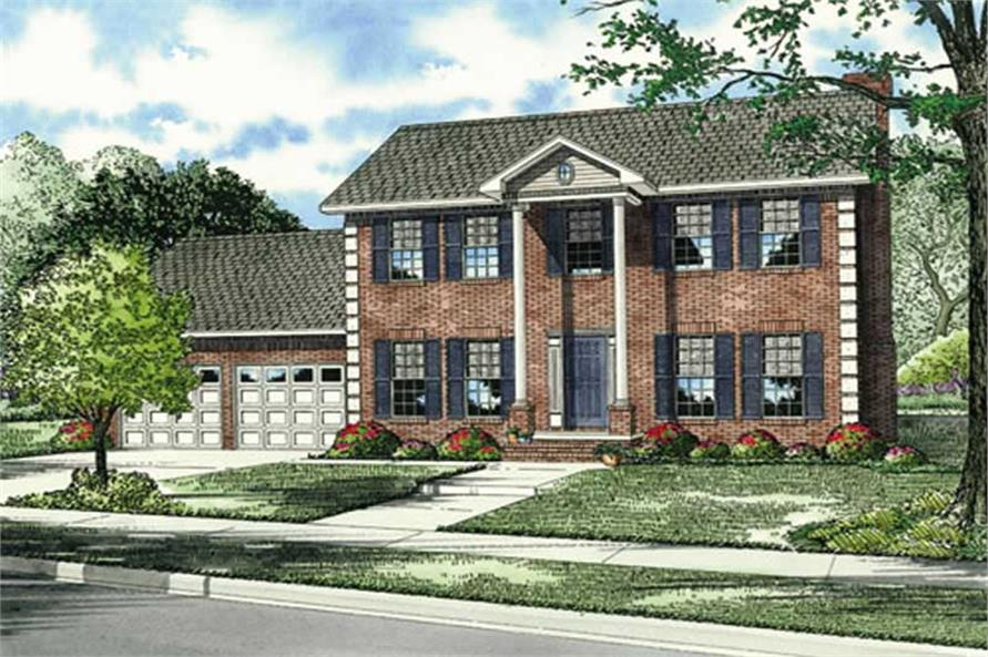 4-Bedroom, 2132 Sq Ft Colonial Home Plan - 153-1574 - Main Exterior