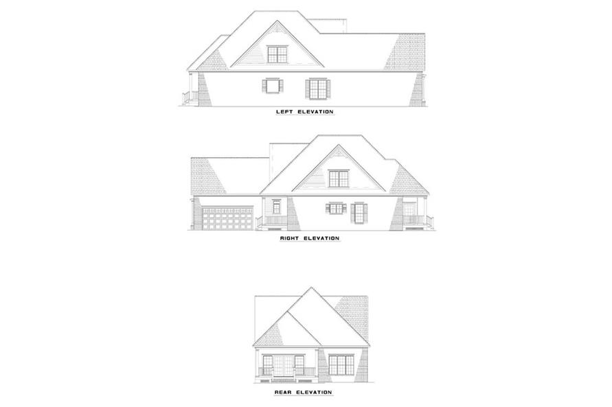 Home Plan Rear Elevation of this 3-Bedroom,2016 Sq Ft Plan -153-1575