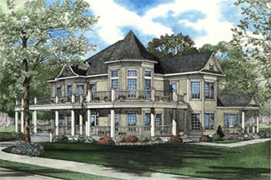 This image shows the front elevation for this set of Luxury House Plans, Victorian House Plans.