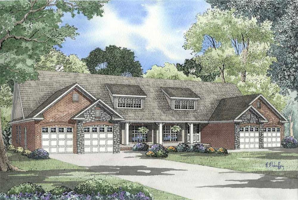 Front elevation of Multi-Unit home (ThePlanCollection: House Plan #153-1578)