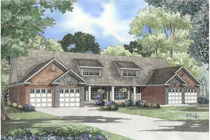 6-Bedroom, 1581 Sq Ft Multi-Unit Home Plan - 153-1578 - Main Exterior