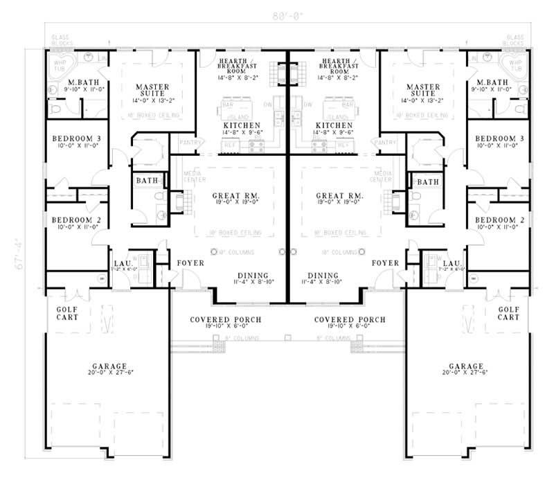 Multi unit duplex plan 153 1578 6 bedrm 1581 sq ft per for Multi unit house plans
