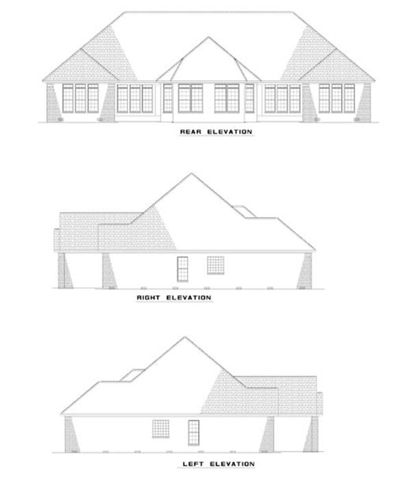 153-1585: Home Plan Rear Elevation
