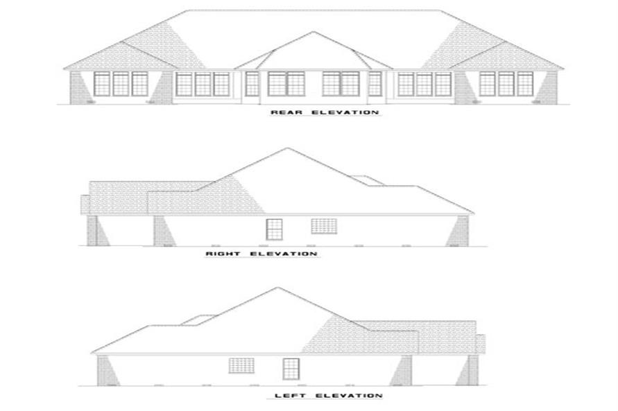 Home Plan Rear Elevation of this 3-Bedroom,1520 Sq Ft Plan -153-1585