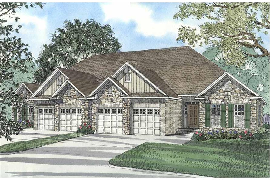 3-Bedroom, 1520 Sq Ft Per Unit Duplex Home Plan - 153-1585 - Main Exterior