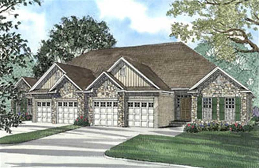 Front elevation of Multi-Unit home (ThePlanCollection: House Plan #153-1585)