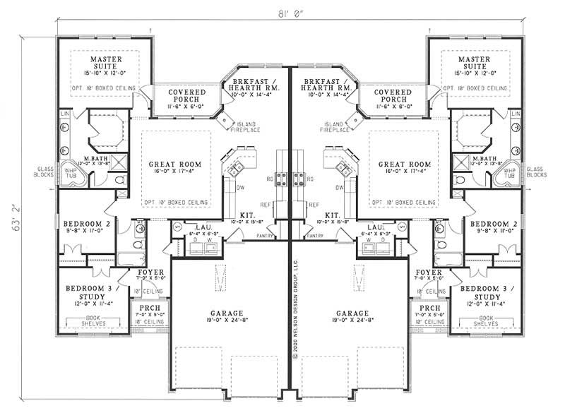 multi unit house plan 153 1585 3 bedrm 1520 sq ft per On multi unit house plans