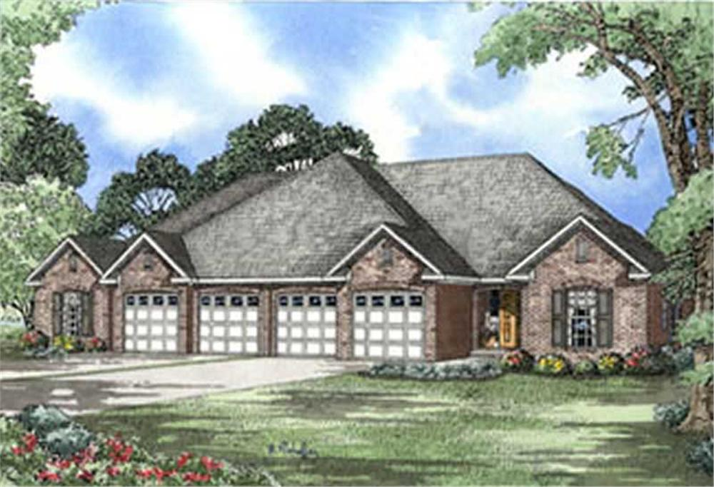 Front elevation of traditional ranch duplex (ThePlanCollection: House Plan #153-1587)