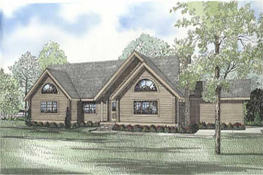 3-Bedroom, 2538 Sq Ft Log Cabin House Plan - 153-1588 - Front Exterior