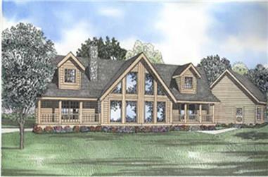 Log Houseplans colored rendering.