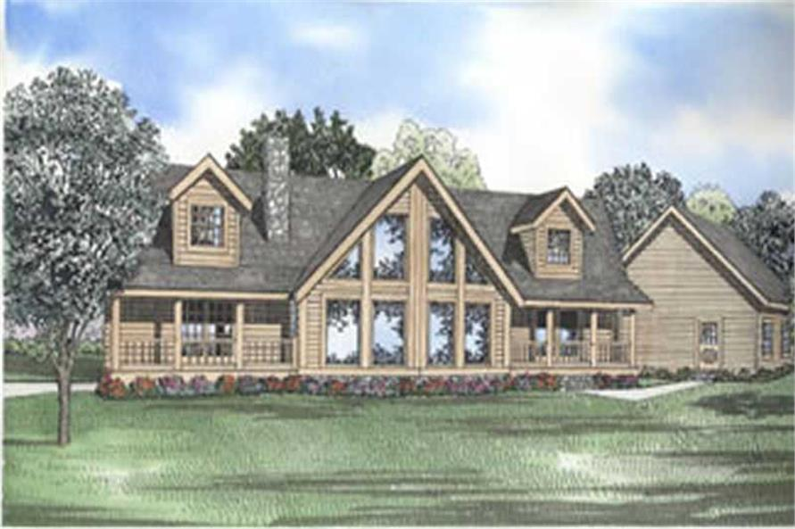 3-Bedroom, 2521 Sq Ft Log Cabin House Plan - 153-1590 - Front Exterior