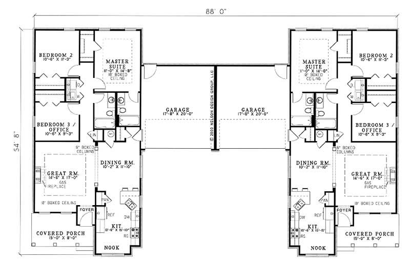 Traditional multi unit house plans home design wilshire for Multi unit home plans