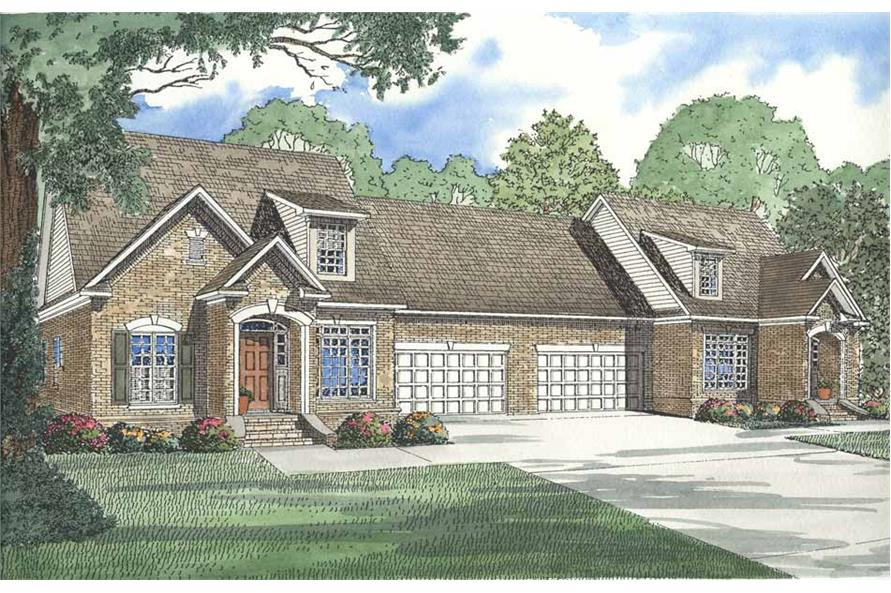 3-Bedroom, 1683 Sq Ft Multi-Unit Home Plan - 153-1595 - Main Exterior