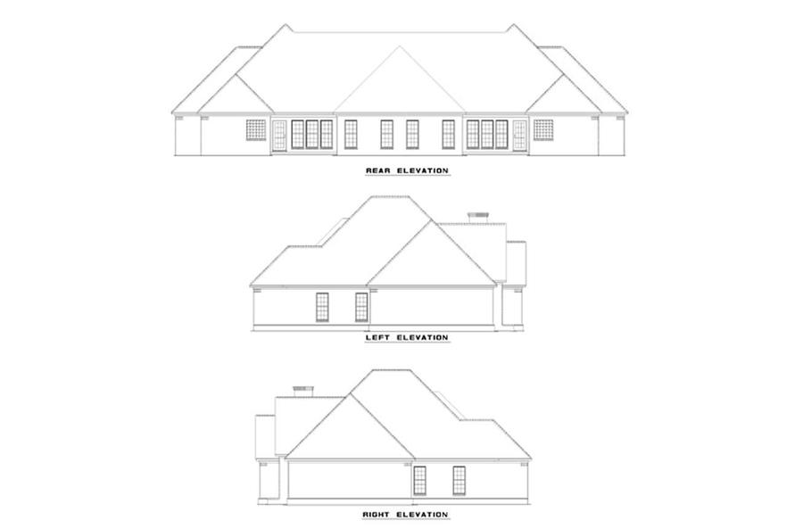 Home Plan Rear Elevation of this 3-Bedroom,1683 Sq Ft Plan -153-1595