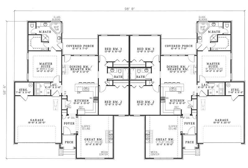 Traditional multi unit house plans home design ivy for Multi unit home plans