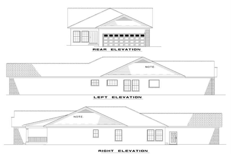 Home Plan Rear Elevation of this 3-Bedroom,1449 Sq Ft Plan -153-1599