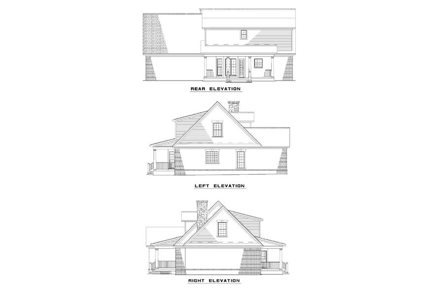 Home Plan Rear Elevation of this 3-Bedroom,1777 Sq Ft Plan -153-1604