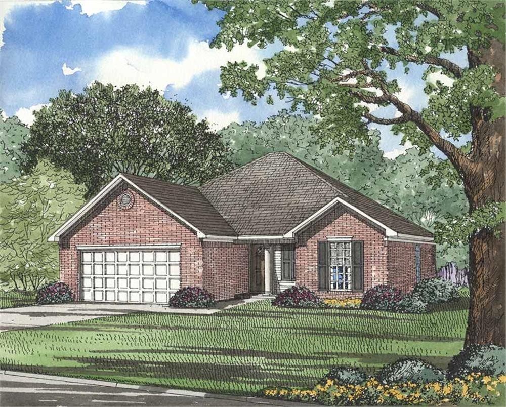 Front elevation of French home (ThePlanCollection: House Plan #153-1608)