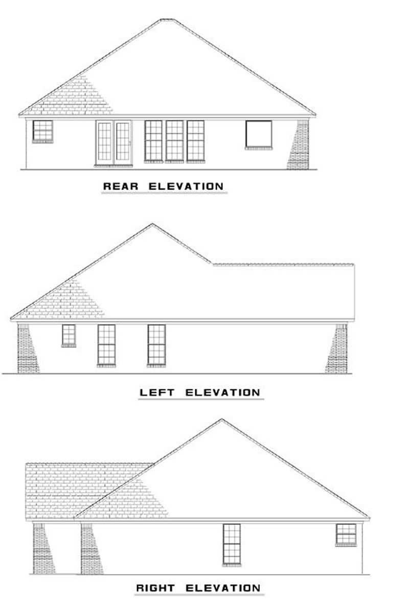 Rear Elevation Plan : Small traditional french house plans home design