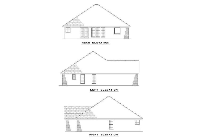 Home Plan Rear Elevation of this 3-Bedroom,1382 Sq Ft Plan -153-1608