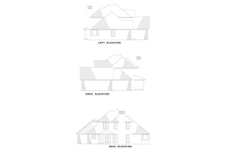 Home Plan Rear Elevation of this 3-Bedroom,1635 Sq Ft Plan -153-1610