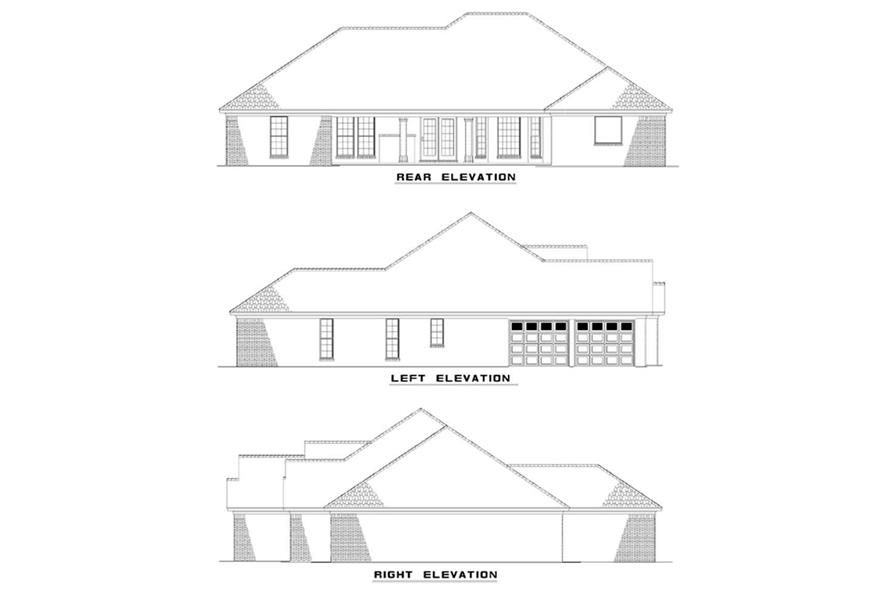 Home Plan Rear Elevation of this 4-Bedroom,2147 Sq Ft Plan -153-1611