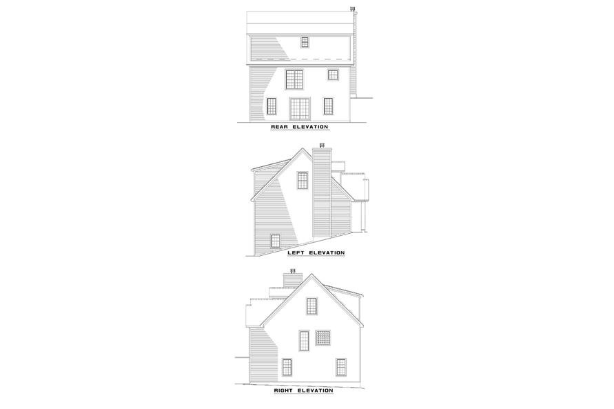 Home Plan Rear Elevation of this 3-Bedroom,1645 Sq Ft Plan -153-1615