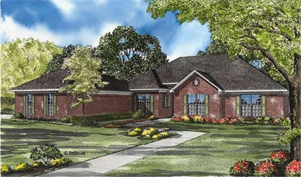 Front elevation of European home (ThePlanCollection: House Plan #153-1616)