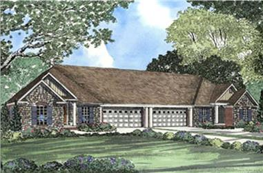 6-Bedroom, 1359 Sq Ft Multi-Unit Home Plan - 153-1622 - Main Exterior