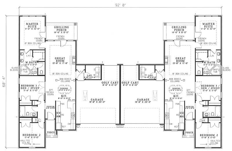 Traditional multi unit house plans home design rosewood for Multi unit floor plans