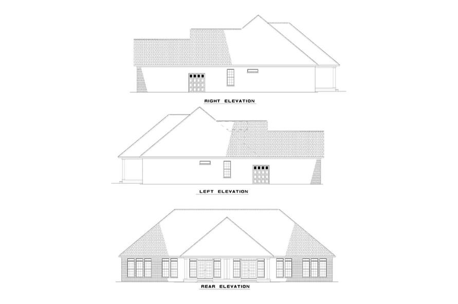 Home Plan Rear Elevation of this 6-Bedroom,1487 Sq Ft Plan -153-1623