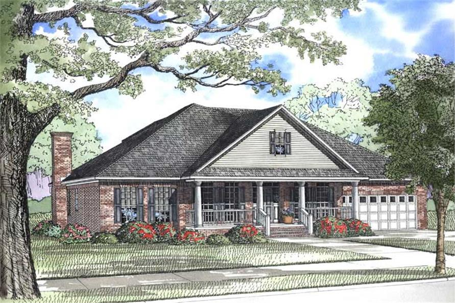 5-Bedroom, 3566 Sq Ft Country House Plan - 153-1640 - Front Exterior