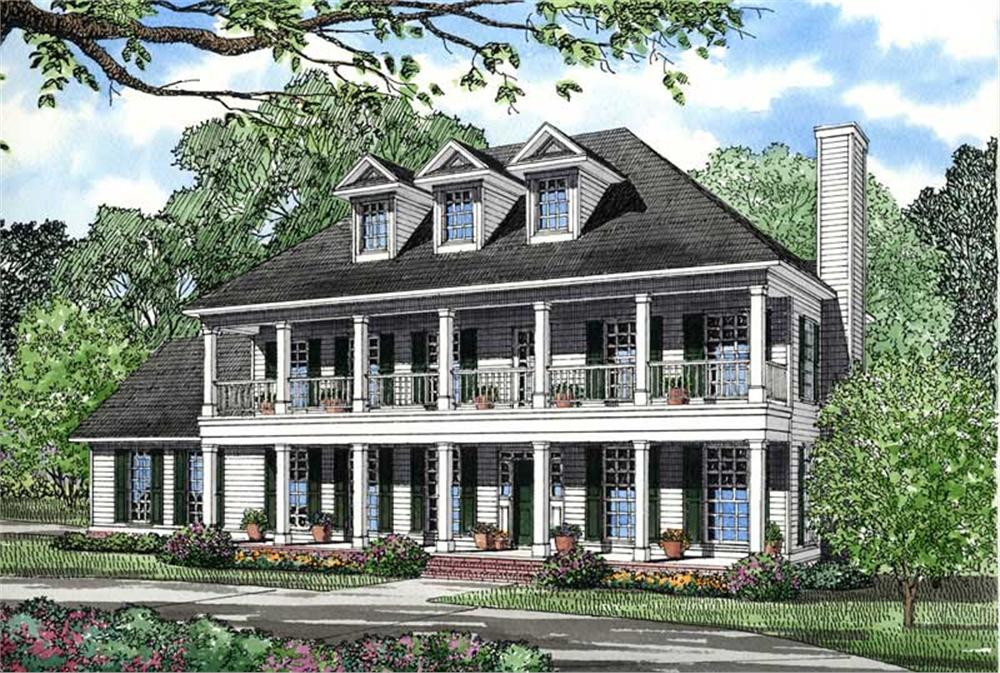 Front elevation of Southern home (ThePlanCollection: House Plan #153-1642)