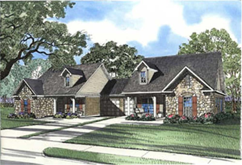 Front elevation of Multi-Unit home (ThePlanCollection: House Plan #153-1646)